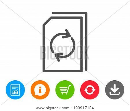 Update Document line icon. Refresh Information File sign. Paper page concept symbol. Report, Information and Refresh line signs. Shopping cart and Download icons. Editable stroke. Vector