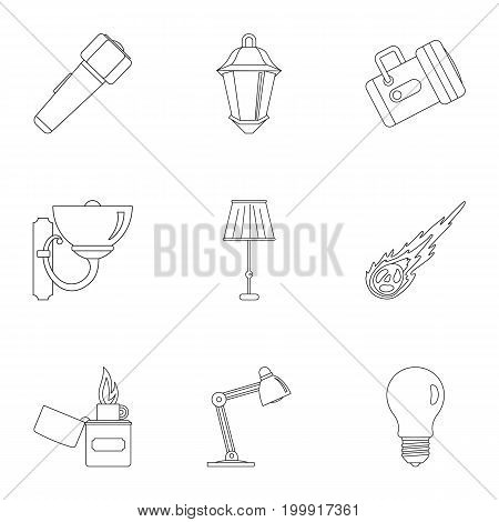 Light source icon set. Outline style set of 9 light source vector icons for web isolated on white background