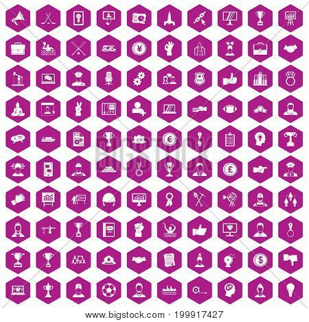 100 leadership icons set in violet hexagon isolated vector illustration