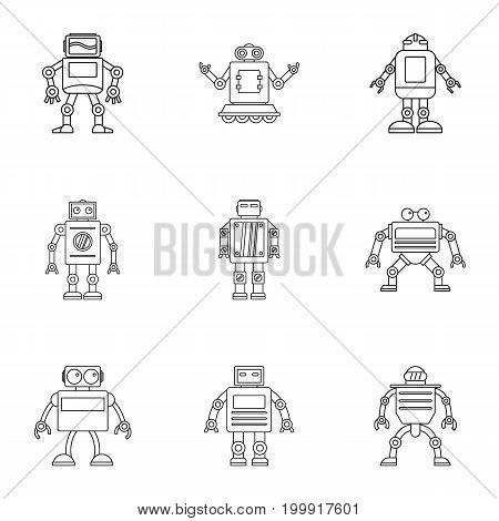 Technology robot icons set. Outline set of 9 technology robot vector icons for web isolated on white background