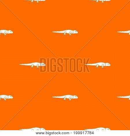 Iguana pattern repeat seamless in orange color for any design. Vector geometric illustration