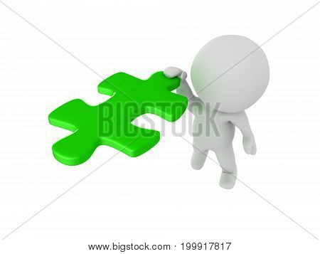 3D Character clinging onto flying green puzzle piece. Isolated on white.