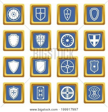 Shield frames icons set in blue color isolated vector illustration for web and any design