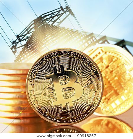 Golden Bitcoins close-up .Photo (new virtual money ) Money of the future . Conceptual photo.