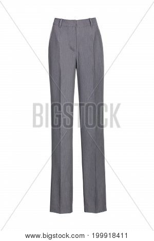 grey women's classic pants isolated on white background