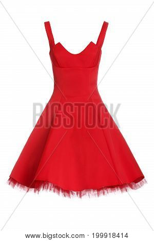 Beautiful red dress isolated on white background.