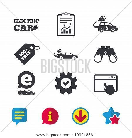 Electric car icons. Sedan and Hatchback transport symbols. Eco fuel vehicles signs. Browser window, Report and Service signs. Binoculars, Information and Download icons. Stars and Chat. Vector
