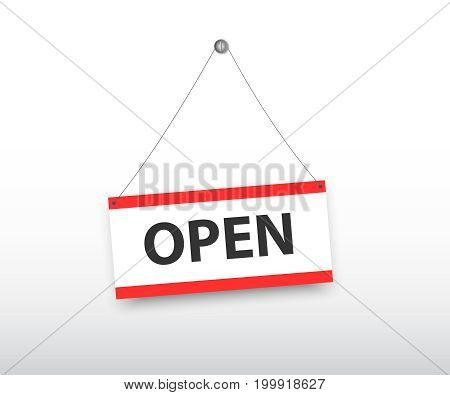 Open door sign on a silver chain on a white background. Open signs hanging with chain