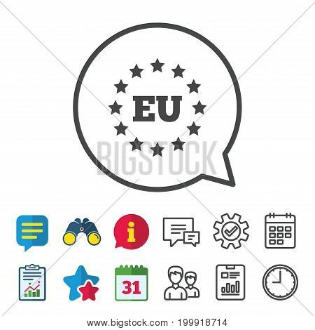 European union icon. EU stars symbol. Information, Report and Calendar signs. Group, Service and Chat line icons. Vector