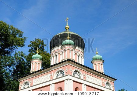 View on the Alexander Newski Church in the Russian Colony Alexandrowka in Potsdam Germany.
