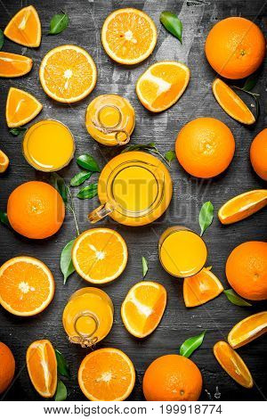 Fresh Juice From Oranges With Leaves.