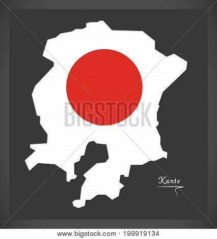 Kanto Map Of Japan With Japanese National Flag Illustration
