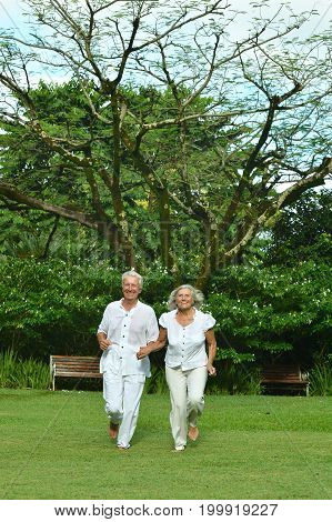 Beautiful happy senior couple running  in green meadow