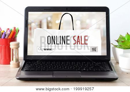 www. on search bar and online sale over shopping bag on laptop screen background digital marketing online shopping background business E-commerce