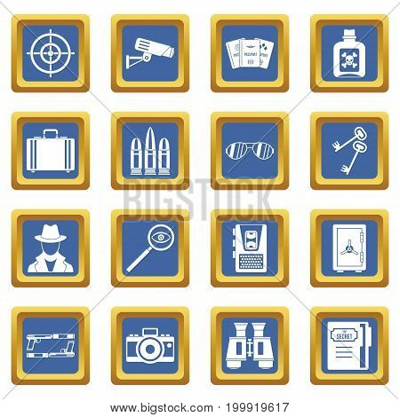 Spy tools icons set in blue color isolated vector illustration for web and any design