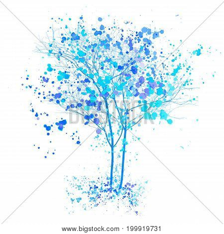 Winter watercolor tree. Blue trees with splashes and ink sketched illustration. Winter tree concept isolated on white background