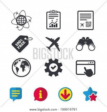 Airplane icons. World globe symbol. Boarding pass flight sign. Airport ticket with QR code. Browser window, Report and Service signs. Binoculars, Information and Download icons. Stars and Chat. Vector