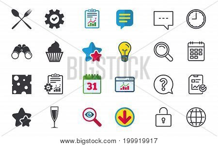 Food icons. Muffin cupcake symbol. Fork and spoon sign. Glass of champagne or wine. Slice of cheese. Chat, Report and Calendar signs. Stars, Statistics and Download icons. Question, Clock and Globe