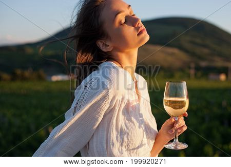 Gorgeous Brunette Woman Having Wine Fun.