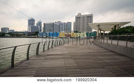 Wooden Floor Of Marina Bay In Singapore