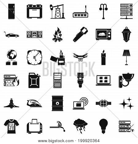 Electricity icons set. Simple style of 36 electricity vector icons for web isolated on white background