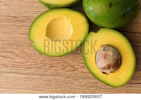 Avocado organic pace on wooden background for healthy.