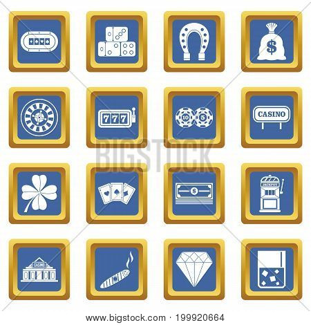 Casino icons set in blue color isolated vector illustration for web and any design