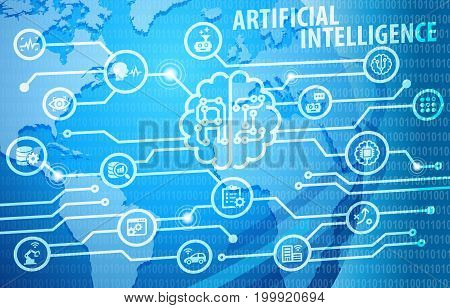 Artificial Intelligence AI Business Automation Infographic Background