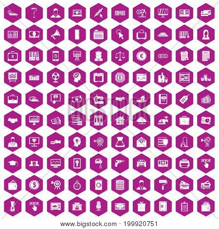 100 lending icons set in violet hexagon isolated vector illustration