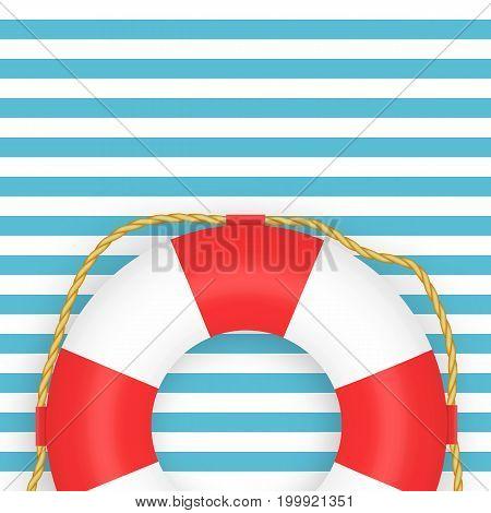 Lifebuoy realistic vector illustration. Marine blue background