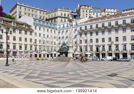 Lisbon Lisboa PORTUGAL The Praca do Municipio. June 12017. This is a quiet square in the Baixa district. On a platform in the middle of the Praca do Municipio stands an eighteenth-century pillar - El Pelourinho.