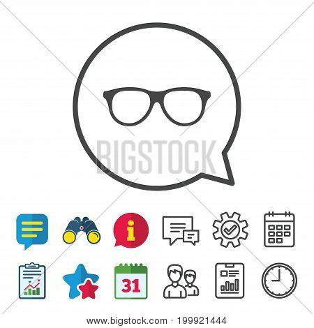 Retro glasses sign icon. Eyeglass frame symbol. Information, Report and Calendar signs. Group, Service and Chat line icons. Vector