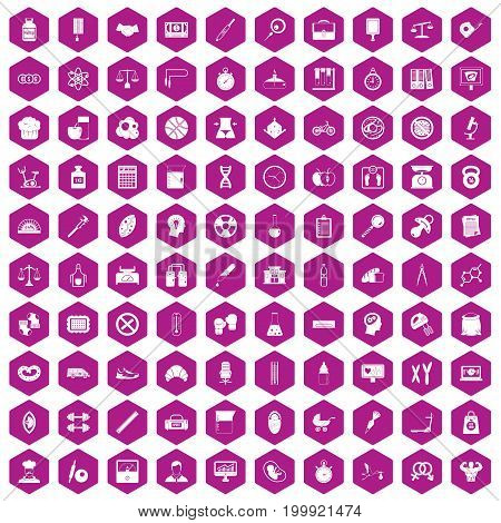 100 libra icons set in violet hexagon isolated vector illustration