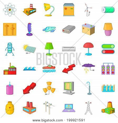 Electricity robot icons set. Cartoon style of 36 electricity vector icons for web isolated on white background