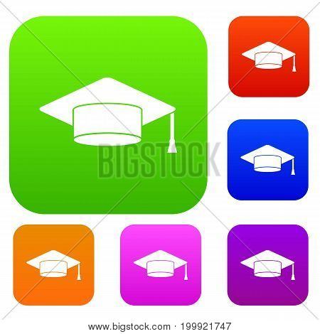 Cap student set icon in different colors isolated vector illustration. Premium collection
