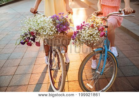Cropped image of two young ladies walking outdoors on bicycles.
