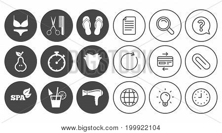Hairdresser, spa icons. Diet cocktail sign. Lingerie, scissors and hairdryer symbols. Document, Globe and Clock line signs. Lamp, Magnifier and Paper clip icons. Question, Credit card and Refresh