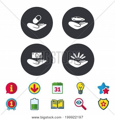 Helping hands icons. Protection and insurance symbols. Save money, car and health medical insurance. Agriculture wheat sign. Calendar, Information and Download signs. Stars, Award and Book icons