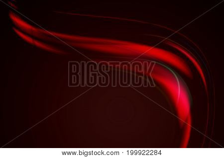 Abstract curved falling volumetric red wave with red light on black background