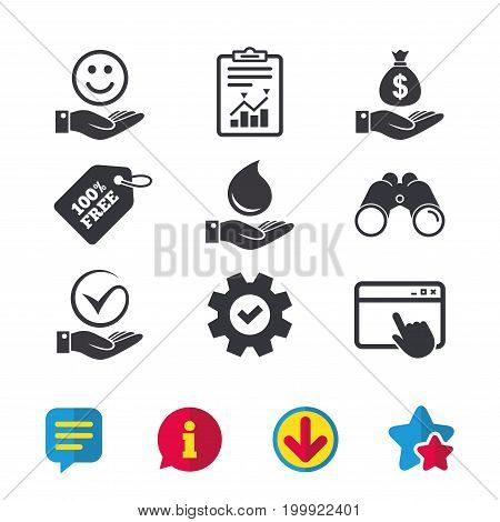 Smile and hand icon. Water drop and Tick or Check symbol. Palm holds Dollar money bag. Browser window, Report and Service signs. Binoculars, Information and Download icons. Stars and Chat. Vector