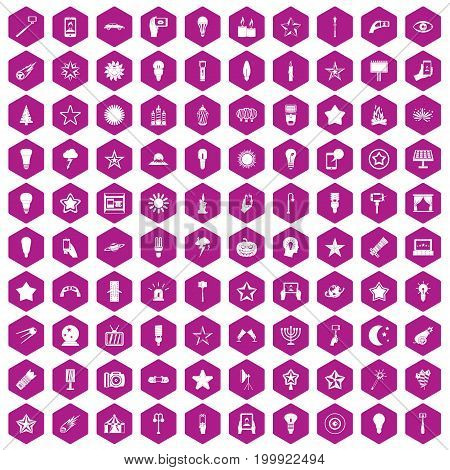 100 light icons set in violet hexagon isolated vector illustration
