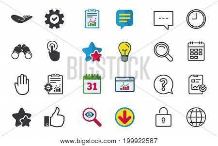 Hand icons. Like thumb up symbol. Click here press sign. Helping donation hand. Chat, Report and Calendar signs. Stars, Statistics and Download icons. Question, Clock and Globe. Vector