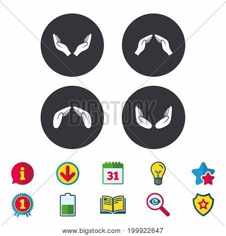 Hands icons. Insurance protection signs. Human helping donation hands. Prayer meditation hands sybmols. Calendar, Information and Download signs. Stars, Award and Book icons. Vector