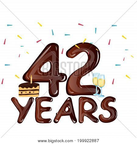 42 Years Anniversary celebration with cake. vector illustration