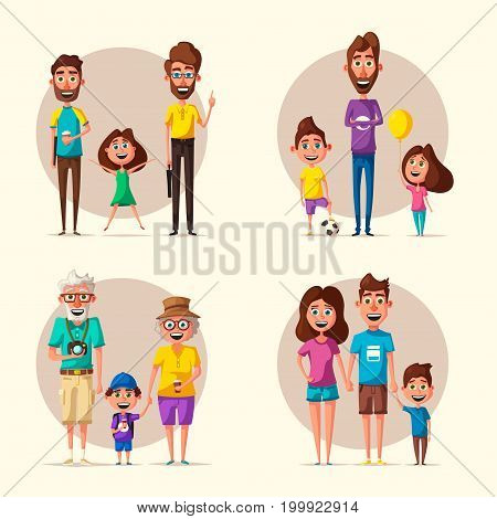 Happy family. Cartoon vector illustration. Grandparents, mother, father, son and daughter. Little children. Cute characters Happy together