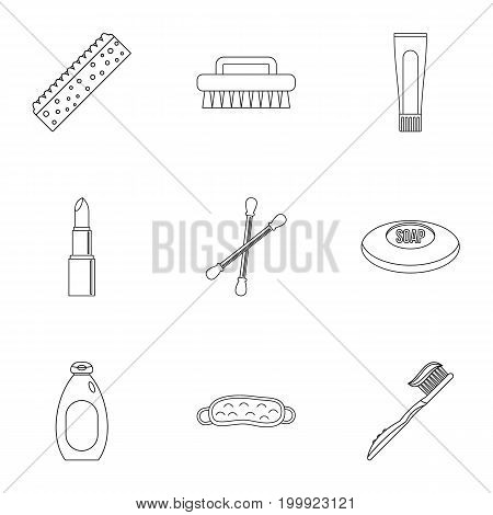 Bathroom things icons set. Outline set of 9 bathroom things vector icons for web isolated on white background