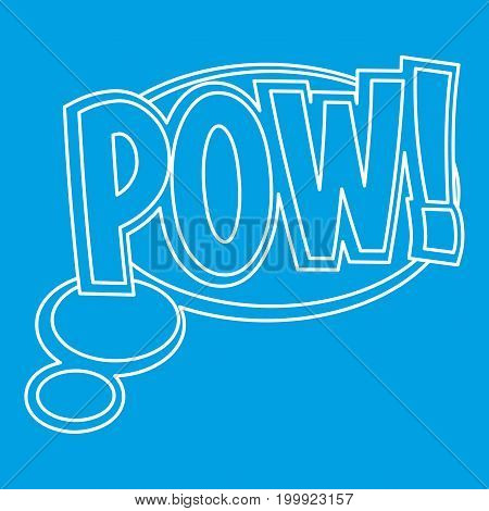 Pow, speech bubble icon blue outline style isolated vector illustration. Thin line sign