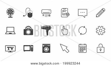 Home appliances, device icons. Electronics signs. Air conditioning, washing machine and ventilator symbols. Chat, Report and Calendar line signs. Service, Pencil and Locker icons. Vector