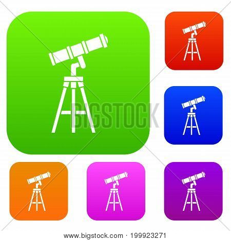 Telescope set icon in different colors isolated vector illustration. Premium collection