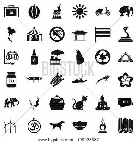 Elephant icons set. Simple style of 36 elephant vector icons for web isolated on white background